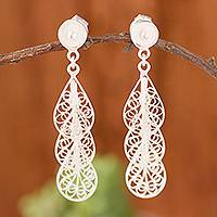 Sterling silver filigree dangle earrings, 'Antique Rain' - Drop-Shaped Sterling Silver Filigree Dangle Earrings