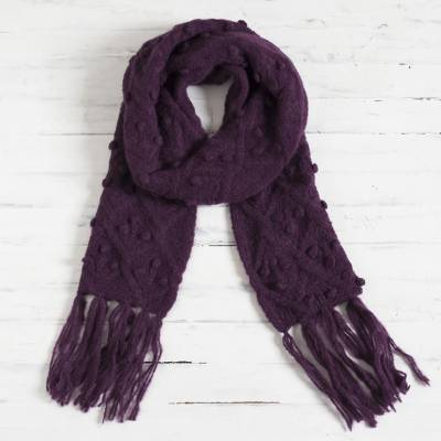 100% alpaca scarf, 'Mulberry Bubble' - Bubble Pattern 100% Alpaca Scarf in Mulberry from Peru
