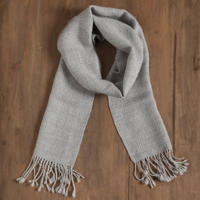 100% alpaca scarf, 'Fascinating Pattern' - Patterned 100% Alpaca Wrap Scarf in Smoke from Peru