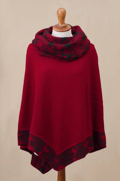 Alpaca blend poncho, 'Sublime Surround' - Crimson Red and Black Alpaca Blend Knit Cowl Neck Poncho