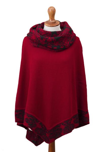 Crimson Red and Black Alpaca Blend Knit Cowl Neck Poncho