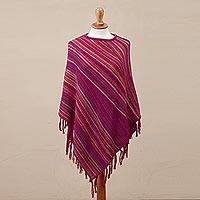 100% alpaca poncho, 'Festive Flair' - 100% Alpaca Knit Poncho Fuchsia with Stripes and Tassels