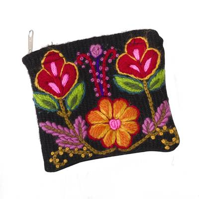Floral Embroidered Wool Coin Purse in Black from Peru