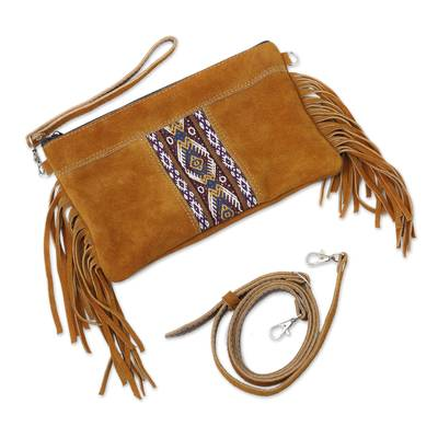 Fringed Wool Accented Suede Handbag in Golden Brown