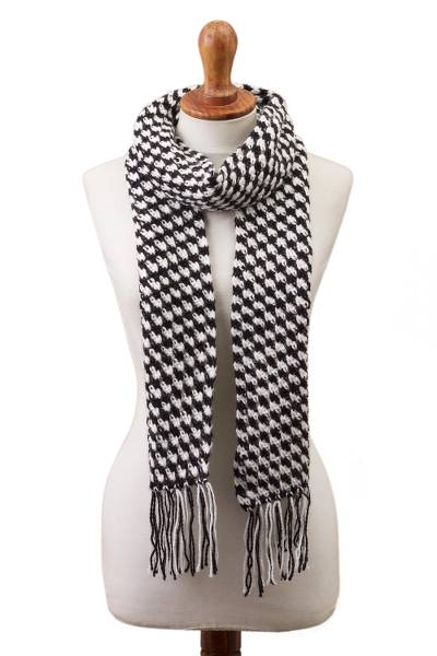 Black and White Alpaca Blend Hand Crocheted Scarf from Peru
