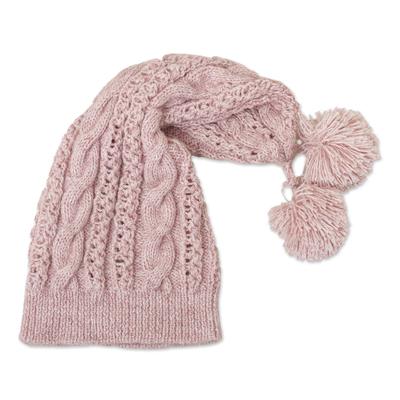 Dusty Rose Crocheted Alpaca Blend Hat from Peru