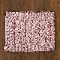 100% alpaca crocheted neck warmer, 'Peppermint Cream' - Dusty Rose Hand Cable Crocheted Alpaca Blend Neck Warmer