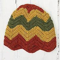 100% alpaca crocheted hat, 'Chevron Stunner' - Green Red and Gold Chevron Pattern 100% Alpaca Crocheted Hat