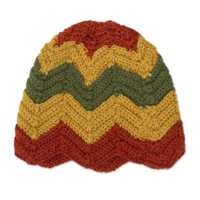 Green Red and Gold Chevron Pattern 100% Alpaca Crocheted Hat