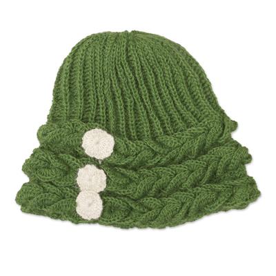 Moss Green Rib and Braid Pattern 100% Alpaca Crocheted Hat