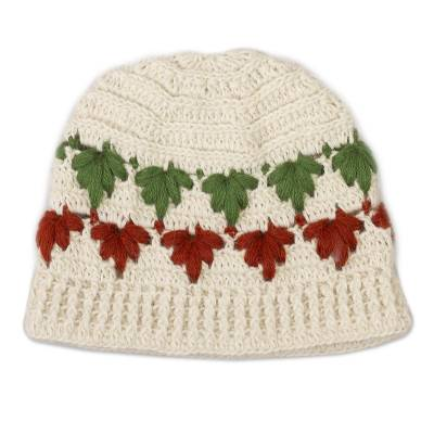 Green and Red on White Leaf Motif 100% Alpaca Crocheted Hat