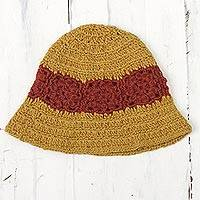 100% alpaca crocheted hat, 'Harvest Field' - 100% Alpaca Yellow and Red Hand Crocheted Flared Brim Hat