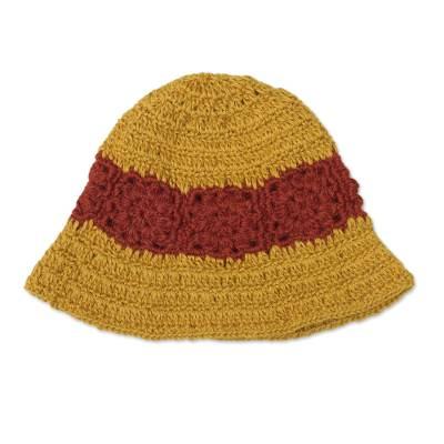 100% Alpaca Yellow and Red Hand Crocheted Flared Brim Hat