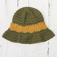 100% alpaca crocheted hat, 'Sunshine Field' - 100% Alpaca Olive and Yellow Hand Crocheted Flared Brim Hat