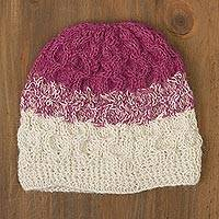 100% alpaca crocheted hat, 'Berries and Cream' - Fuchsia and White 100% Alpaca Hand Crocheted Cable Hat