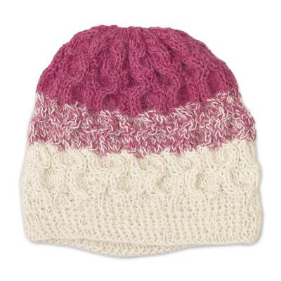 Fuchsia and White 100% Alpaca Hand Crocheted Cable Hat