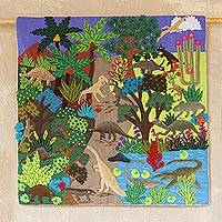 Cotton blend patchwork wall hanging, 'Pre-Historic Land' - Dinosaur-Themed Cotton Blend Patchwork Wall Hanging