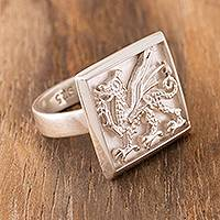 Sterling silver signet ring, 'Stylized Dragon'