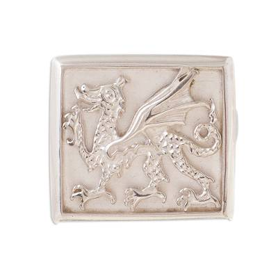 Sterling silver signet ring, 'Stylized Dragon' - Dragon-Themed Sterling Silver Signet Ring from Peru