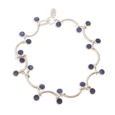 Blue Sodalite Curved Link Bracelet from Peru
