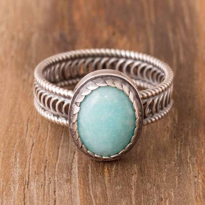 Amazonite cocktail ring, 'Oval of Power' - Oval Amazonite Cocktail Ring from Peru