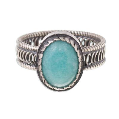 Oval Amazonite Cocktail Ring from Peru
