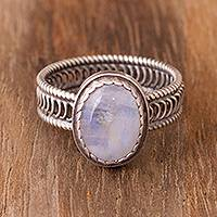 Rainbow moonstone cocktail ring, 'Oval of Power' - Rainbow Moonstone Cocktail Ring from Peru