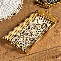 Reverse-painted glass tray, 'Golden Colonial' - Gold-Tone Reverse-Painted Glass Tray from Peru