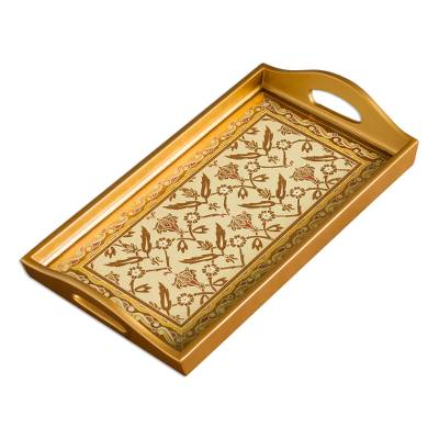 Gold-Tone Reverse-Painted Glass Tray from Peru