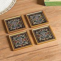 Reverse-painted glass coasters, 'Colonial Intricacy' (set of 4) - Floral Reverse-Painted Glass Coasters (Set of 4)