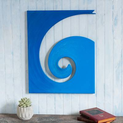 Steel and cotton wall sculpture, 'Evolution in Blue' - Modern Steel and Cotton Wall Sculpture in Blue from Peru