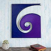 Steel and cotton wall sculpture, 'Evolution in Purple'