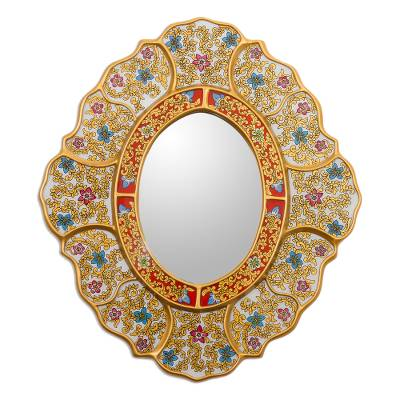 Reverse-painted glass wall mirror, 'Floral White' - White and Gold Floral Reverse-Painted Glass Wall Mirror