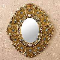 Reverse-painted glass wall mirror, 'Floral Gold' - Gold-Tone Floral Reverse-Painted Glass Wall Mirror