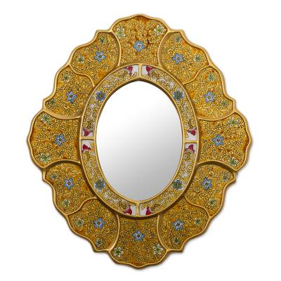 Gold-Tone Floral Reverse-Painted Glass Wall Mirror