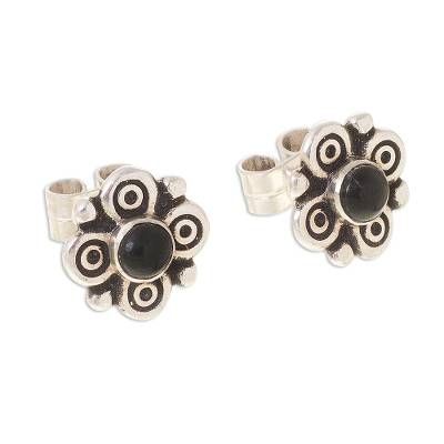 Artisan Crafted Obsidian Stud Earrings from Peru