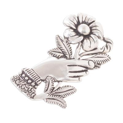 Peruvian Silver Brooch of a Hand Clutching a Flower