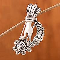 Silver brooch, 'Bouquet of Delight' - Peruvian Silver Brooch of a Hand Holding a Bouquet