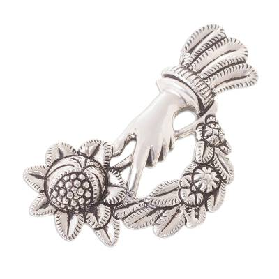 Peruvian Silver Brooch of a Hand Holding a Bouquet