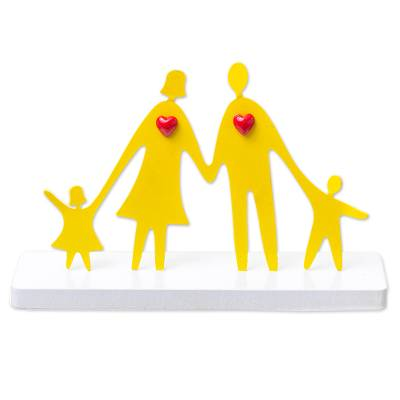 Aluminum sculpture, 'Adoring Family' - Modern and Whimsical Yellow Aluminum Loving Family Sculpture