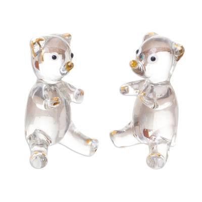 Gilded Blown Glass Bear Figurines from Peru (Pair)