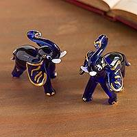 Blown glass figurines, 'Gilded Elephants in Blue' (pair) - Gilded Blown Glass Elephant Figurines in Blue (Pair)