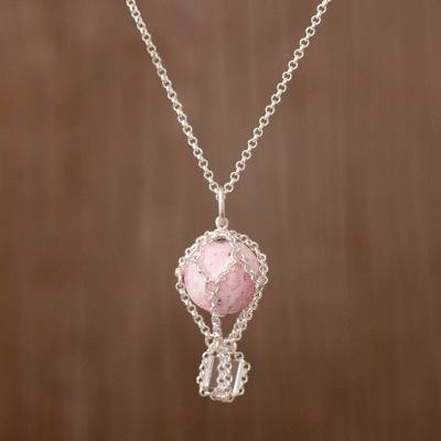 Rhodonite pendant necklace, 'Up Through the Air' - Rhodonite and Quartz and Sterling Silver Pendant Necklace