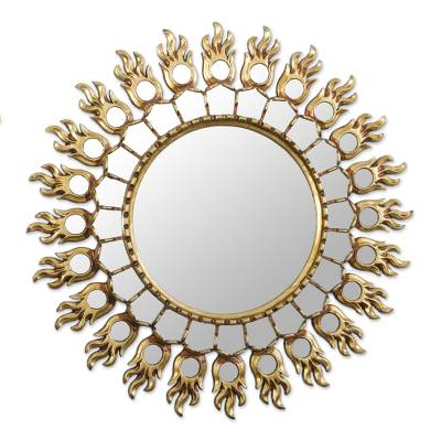 Fire Pattern Bronze Gilded Wood Wall Mirror from Peru
