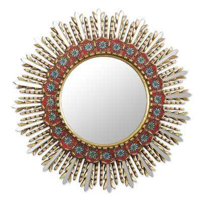 Floral Reverse-Painted Glass Wood Wall Mirror with Bronze