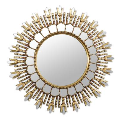Artisan Crafted Bronze Gilded Wood Wall Mirror from Peru