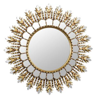 Colonial Bronze Gilded Wood Wall Mirror from Peru