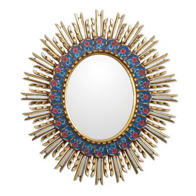 Floral Bronze Gilded Reverse-Painted Glass Wall Mirror