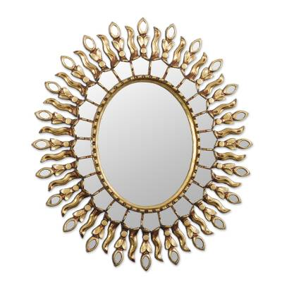 Gold-Toned Bronze Gilded Wood Wall Mirror from Peru
