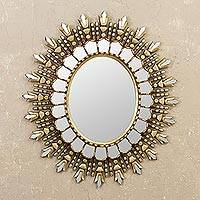 Bronze gilded wood wall mirror, 'Oval Colony' - Wood Wall Mirror with Bronze Gilt from Peru